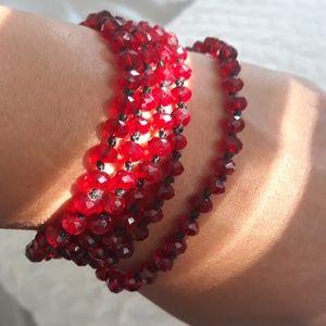 Red bead long necklace or multilayer bracelet